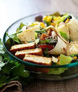 Tortillas vegan au tofu nature mariné